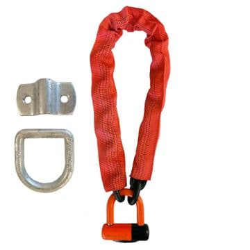 MOTORBIKE MOTORCYCLE CHAIN LOCK 1.8m x 13mm with FOLDING WALL / GROUND ANCHOR